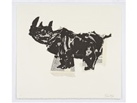 rhino (head up) by william kentridge