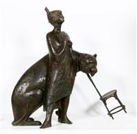 een bronzen beeld. dompteuse by evert ten hartog