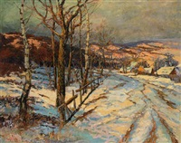 winterlandschaft bei abendsonne by hugo baar