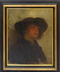 portrait of a figure in a broad brimmed hat by florence engelbach