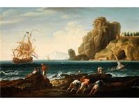 seestück mit schiff, steilküste und bootsleuten im vordergrund by jean henry d' arles
