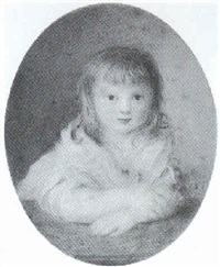 brustporträt eines kleinen mädchens in weißem rüschenkleid by christian leberecht vogel