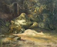 lioness with cubs by cuthbert edmund swan