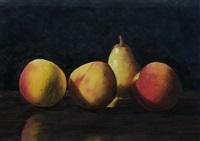 still life of peaches, pear, and apple by robert dodge