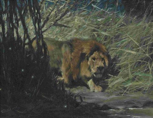 löwe zieht zur tränke by wilhelm friedrich kuhnert