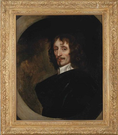 portrait of a gentleman bust length in a black robe and a white lawn collar feigned oval by sir peter lely