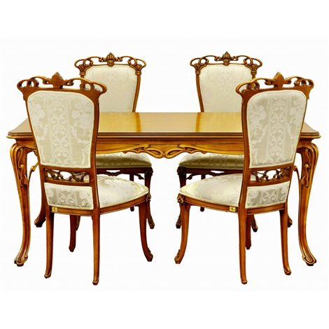Art Nouveau Style Flower Dining Table 4 Chairs 5 Works By Cl
