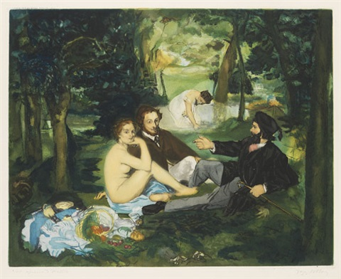 le déjeuner sur lherbes etched by jacques villon by édouard manet