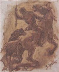 raubkatze attackiert speerkämpfer zu pferd by eberhard quirin