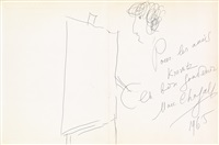 artist at the easel by marc chagall