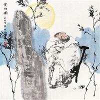 赏竹图 镜片 设色纸本 by ren huizhong
