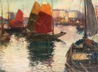 bateaux de moules hollandais ammarés dans le port d'anvers by rene bosiers