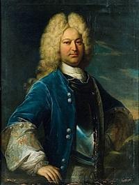 portrait d'homme au manteau bleu by jean-baptiste santerre