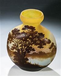 vase mit baumlandschaft by cristallerie d'emile gallé