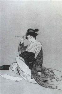 kurtisane mit prachtvollem drachenobi beim schreiben eines briefes... by yukawa shodo