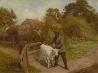 bauer mit weißem kalb by edward henry holder