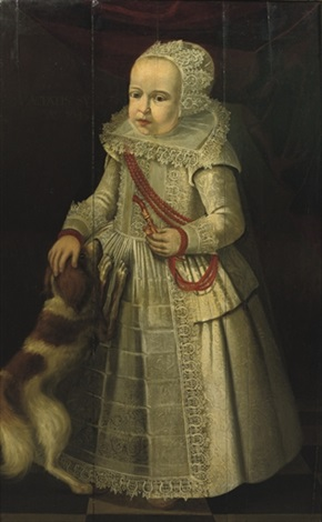 portrait of a girl, in a white embroidered dress with lace collar and headdress, wearing a coral necklace, a dog by her side by dirck dircksz van santvoort