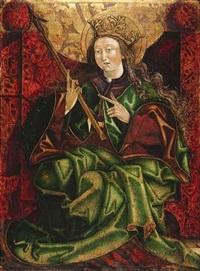 die heilige ursula. in der rechten hand hält die thronende königstochter einen pfeil, der auf ihr martyrium bei köln verweist by austrian school-tyrolean (15)