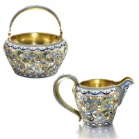 sugar bowl and creamer (set of 2) by peter baskakov