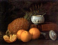 still life of a pineapple, wedgwood pot and oranges, with books to the side by george f. harris