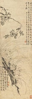 山茶幽兰图 (flower tree) by wang shishen