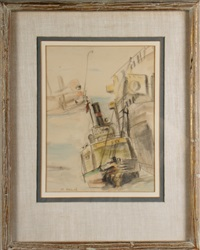 tugboat (recto/verso) by reginald marsh