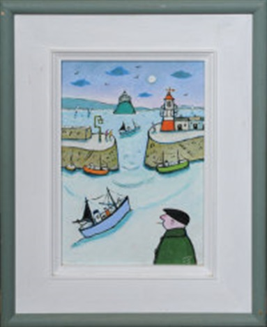 fishing boats at newlyn harbour by joan gillchrest