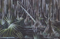 louisiana swamp scene at night by paul ninas