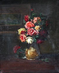 still life with a vase of roses by george f. harris
