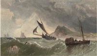 Fishing craft in a swell off the coast, 1857