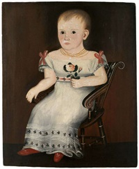 portrait of a child in white dress holding a rose and seated in a fancy painted scroll back chair by sheldon peck