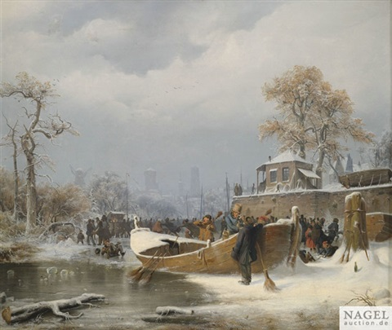 winterliche bootsanlegestelle im hintergrund reges treiben auf einem zugefrorenen kanal vor stadtsilhouette by andreas achenbach