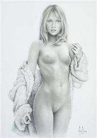 superbe illustration représentant une jeune femme dénudée by aslan