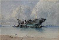 dismasted and beached vessel on the coast (morecambe bay?) by william woodhouse