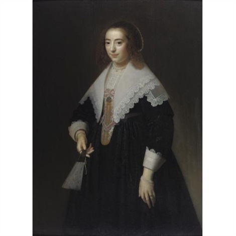 portrait of a lady holding a fan by dirck dircksz van santvoort