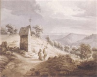 two pilgrims praying by a chapel in the harz mountains by wilhelmine louise d' anhalt-bernbourg
