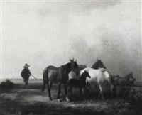 hüterbub mit pferden in weiter landschaft by alois bach