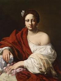 porträt einer dame (virginia da vezzo, ehefrau des künstlers, als heilige dorothea?) by simon vouet