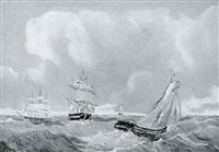 marine med sejlskibe på havet by edvard skari