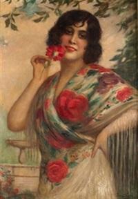 joven con mantón y clavel by antonio torres fuster
