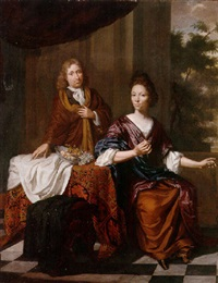 portrait of a gentleman and his wife at a table with fruit upon a terrace by daniel haringh