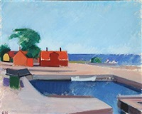 red buildings at the harbour by søren hjorth-nielsen