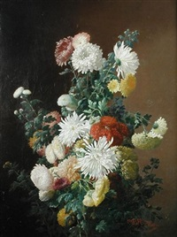 still life of chrysanthemums by charles frederick hurten