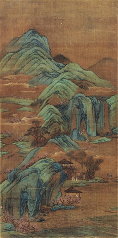 春山郊游图 spring hiking in mountain by zhu derun