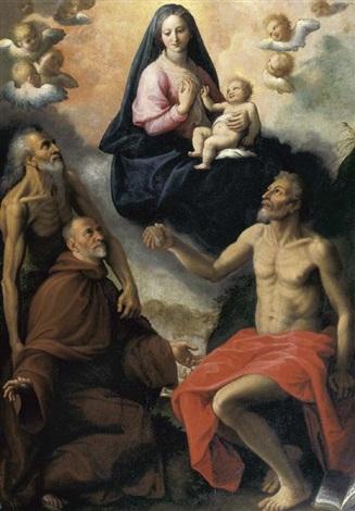 madonna con i santi onofrio girolamo e un devoto by fabrizio santafede