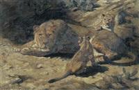 löwin mit zwei jungen by winifred marie louise austen