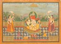 grossformatige miniatur der verehrung von ganesh by anonymous-indian (19)