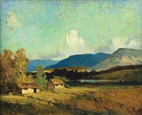 cottages in an autumn landscape by william mitcheson timlin