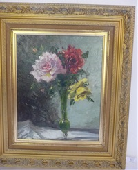 a still life of pink, red and yellow roses in a vase by owen bowen