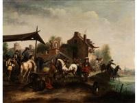 markttreiben mit pferdemagd vor der stadt by philips wouwerman